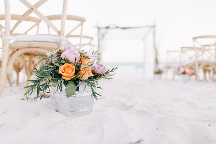 Natural Rose and Greens Beach Aisle Decor