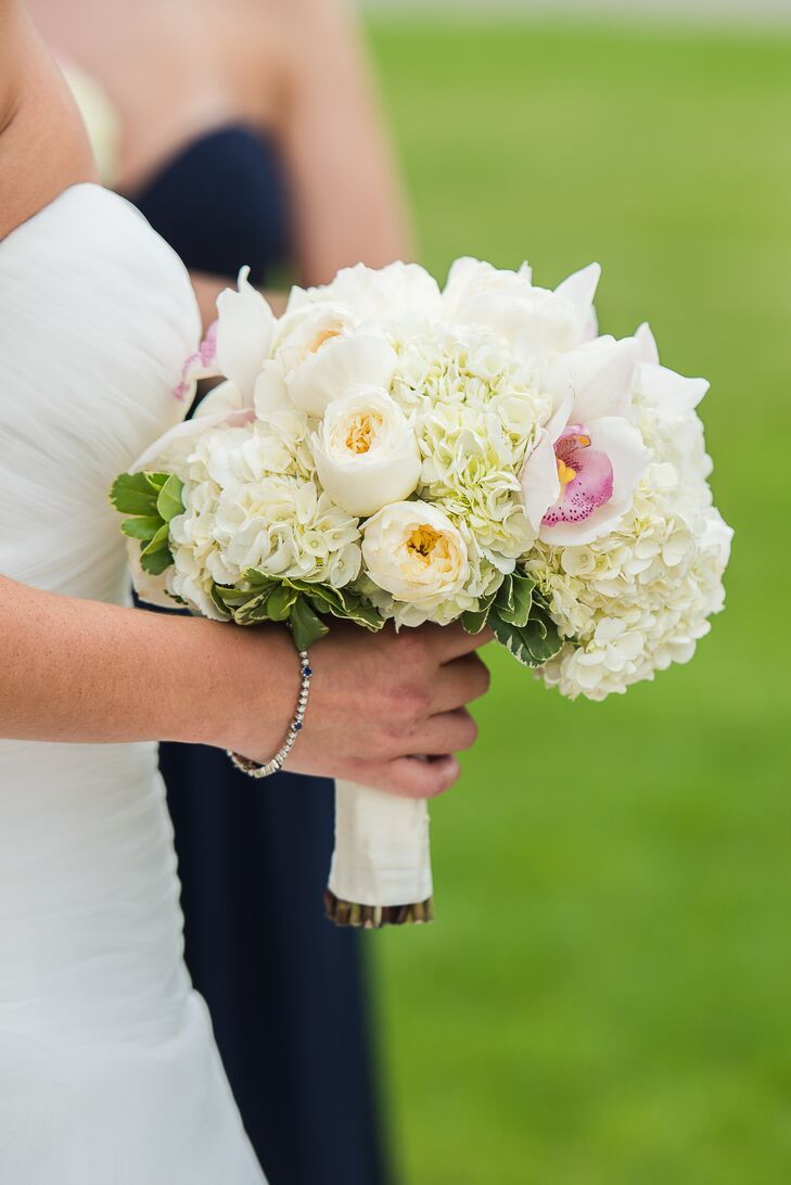 White Garden Roses and Hydrangea Bouquet