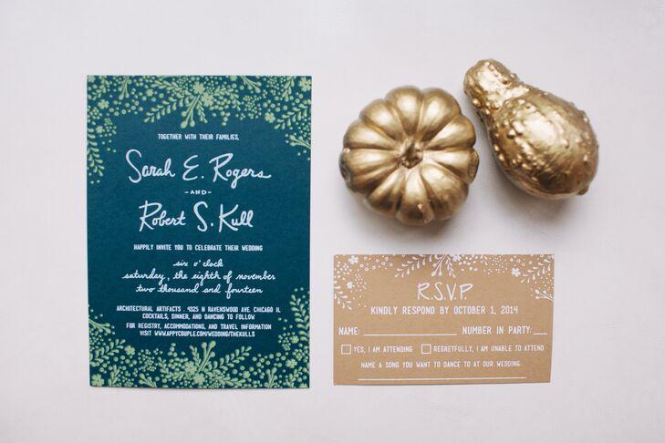 Navy and Green Wedding Invitation