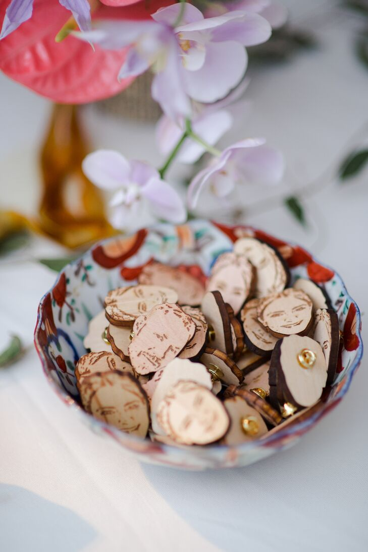 Personalized Wood Pins in Vintage Bowl