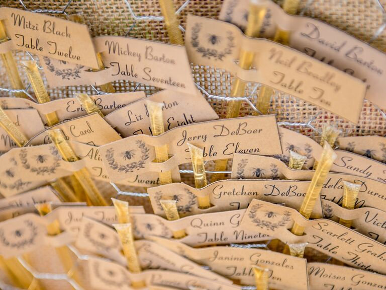 Honey straw escort cards