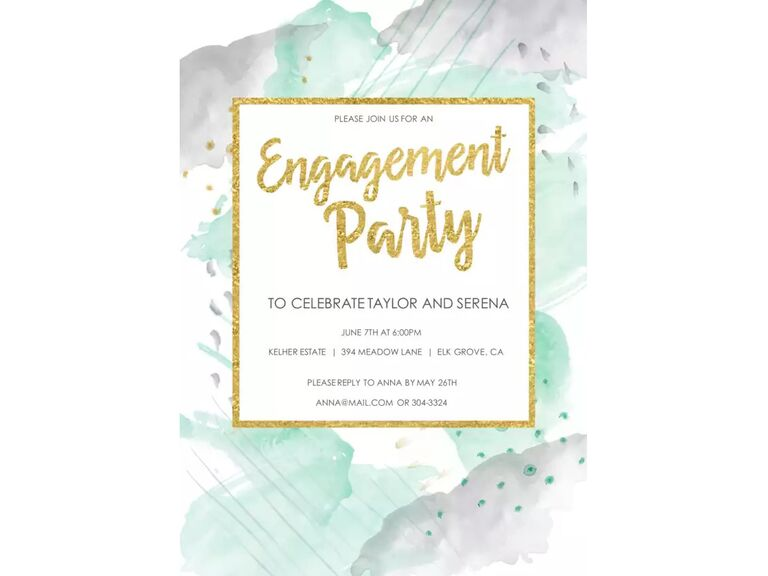 Watercolor engagement party invitation
