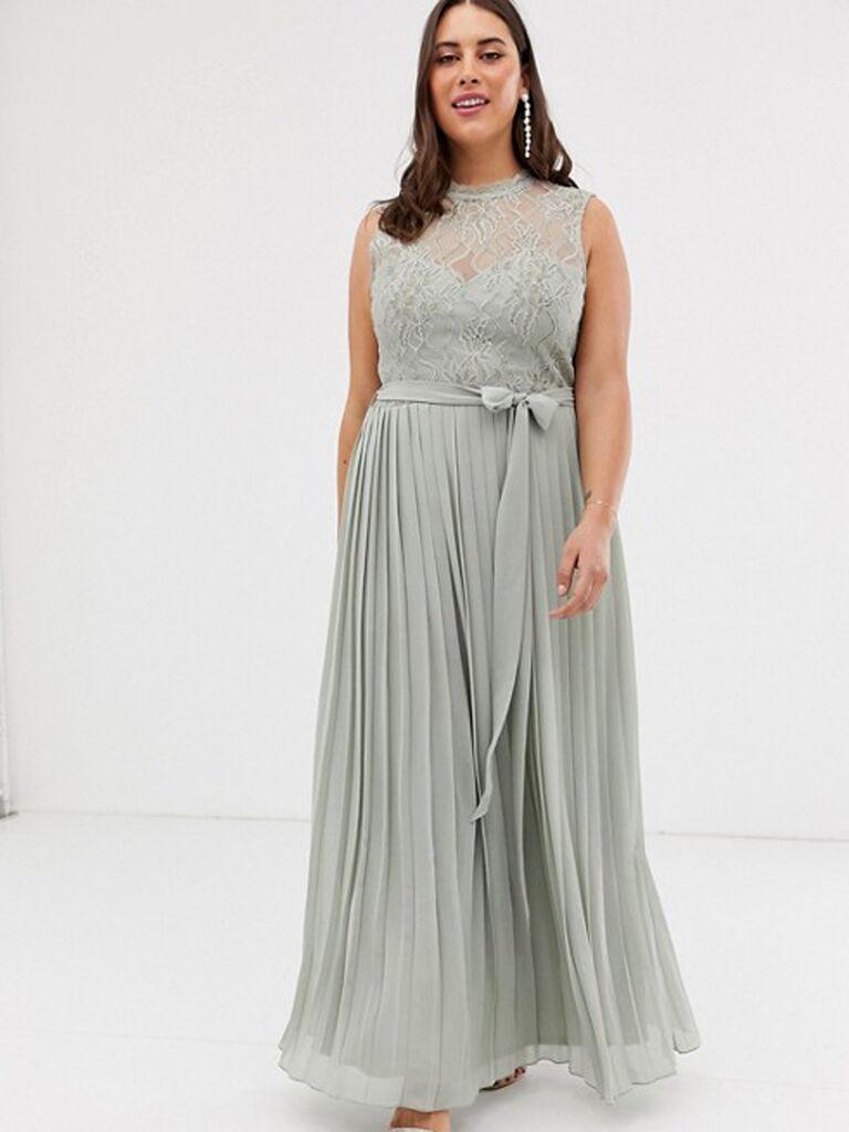 Gray lace plus size bridesmaid dress