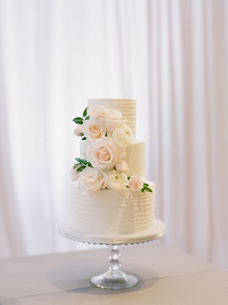 Three-Tier Cake with Fresh Flowers for Wedding at Segerstrom Center for the Arts in Costa Mesa, California