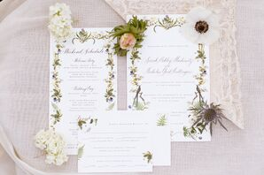 Illustrated, Garden-Inspired Wedding Invitations