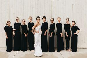 Black Three-Quarter-Length Sleeve Bridesmaid Dresses