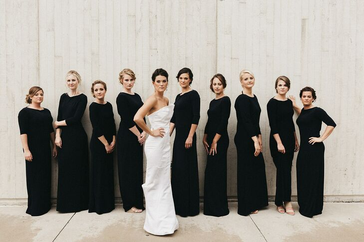 Black Three-Quarter-Length Sleeve Bridesmaid Dresses