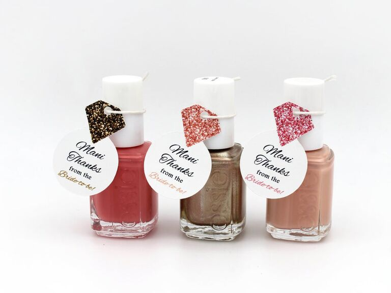 Cute nail polish favors for a bridal shower