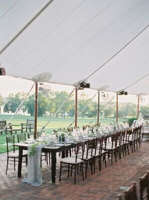 Tented Reception with Farm Table and Blue Chiffon Runner