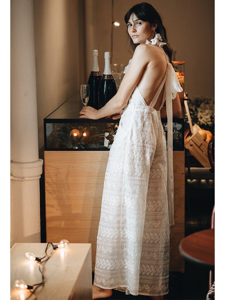 Lace Wedding Jumpsuit with Apron Neckline