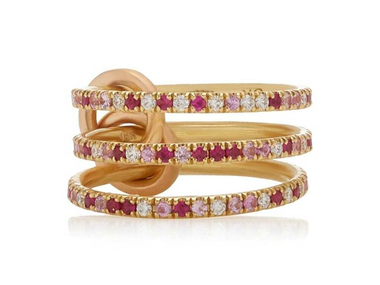 Three eternity bands with pink, diamond and ruby pavé stones