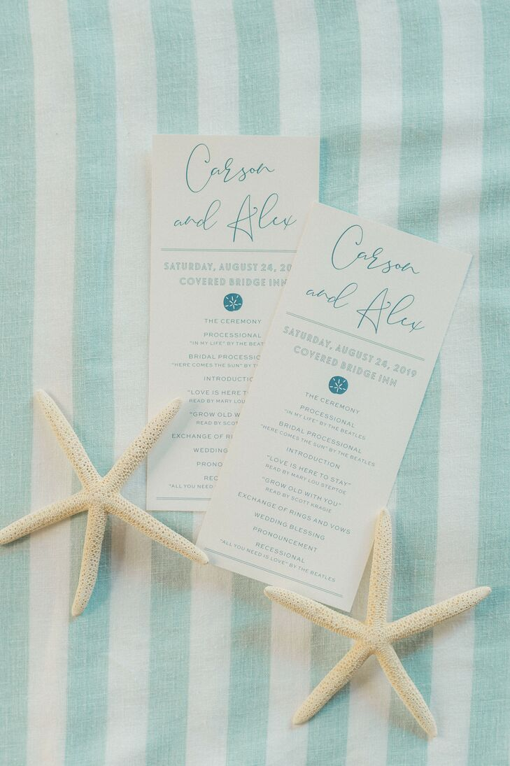Coastal Chic White-and-Blue Wedding Programs