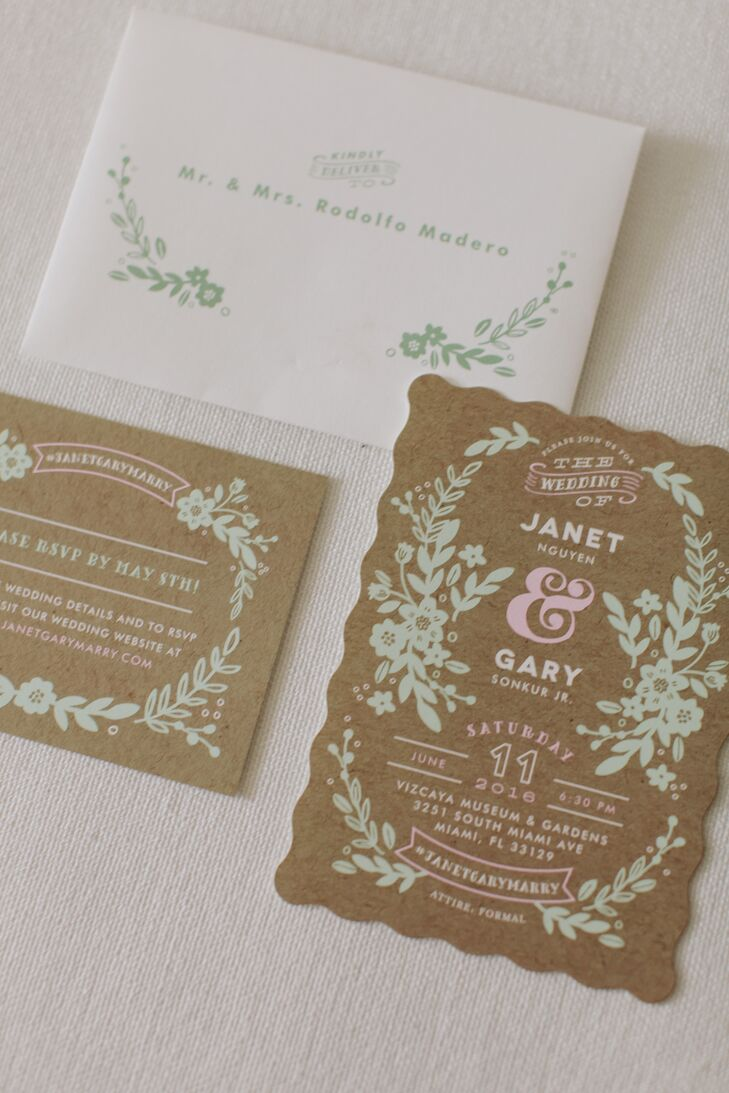 Kraft Paper Invites with Mint Green Filagree