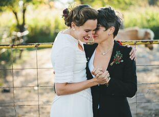 The best part of Jennie Jeddry (33 and a freelance camera assistant) and Kim DeLise's (38 and a freelance script supervisor) vintage farm wedding is t