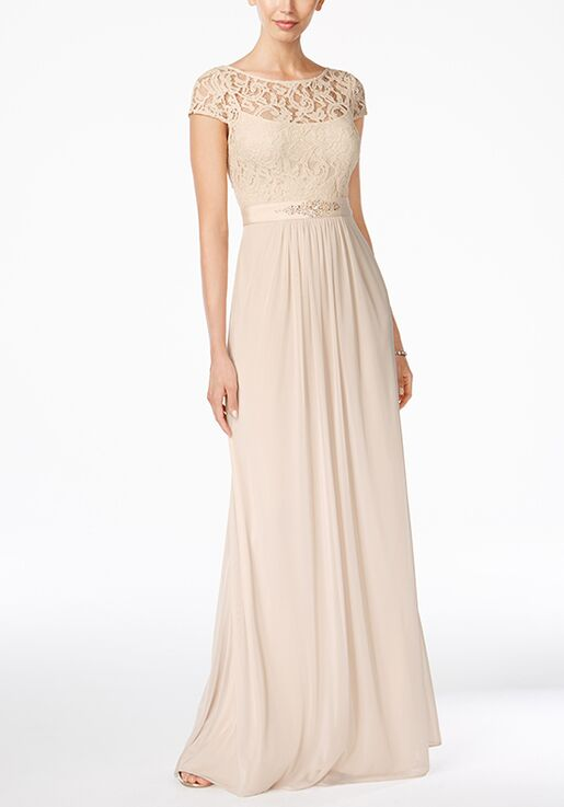 Adrianna Papell Adrianna Papell Lace Embellished Illusion Gown Illusion Bridesmaid Dress