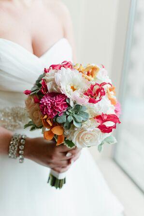 Colorful Dahlia and Succulent Bridal Bouquet