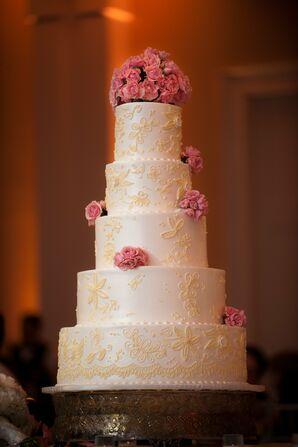 Tall Ivory Wedding Cake