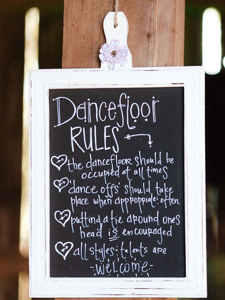 Funny chalkboard wedding sign with dance floor rules