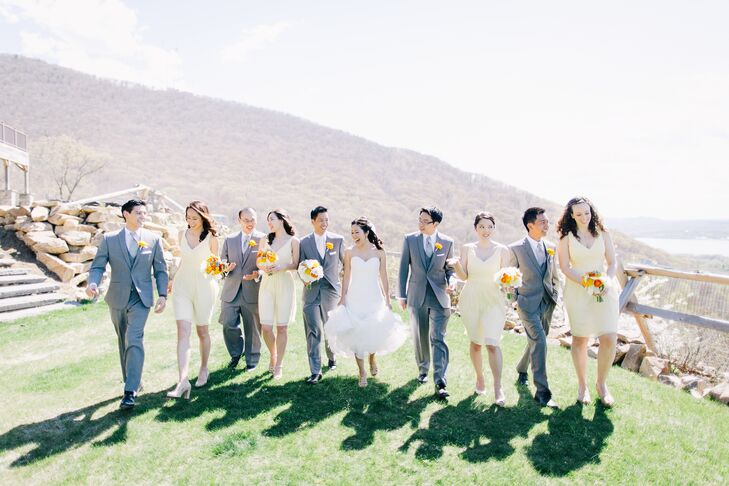 """Yukari and Timothy stressed over their color scheme for weeks, until one of their bridesmaids suggested using their apartment as inspiration. """"We never knew how much we loved yellow, cream and gray until that day,"""" Yukari says."""