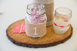 Candy Mason Jar With Burlap Table Numbers