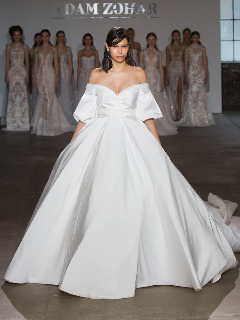Adam Zohar Spring 2019 Collection full structured ball gown with off-the-shoulder puff sleeves