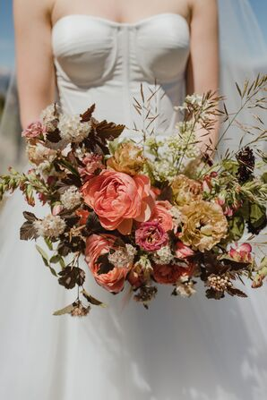 Vintage Neutral Bouquet with Peach-Pink Peonies