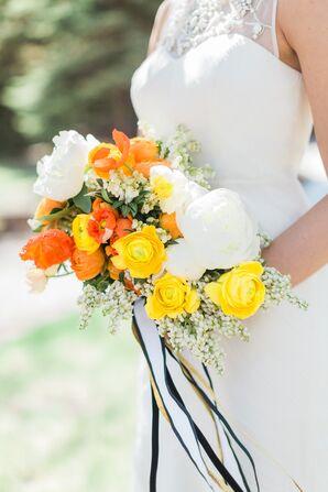 Vibrant Yellow, Orange and White Bridal Bouquet