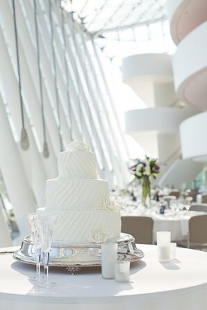 Striped Buttercream Wedding Cake on Silver Cake Stand