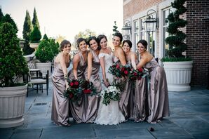 Classy Champagne Bridesmaid Gowns