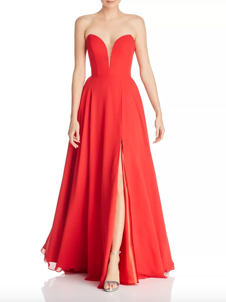 Faviana Couture chiffon plunging sweetheart gown