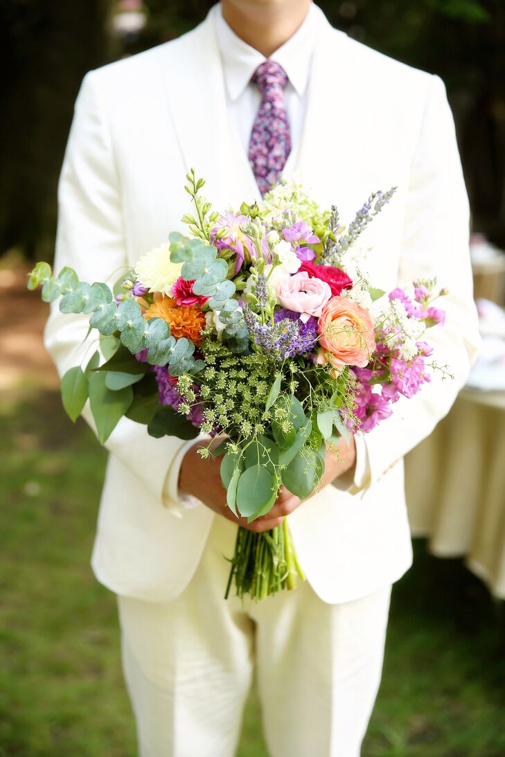 Bright Eucalyptus and Wildflower Bouquet