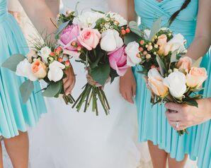 Pink, Orange, and Ivory Rose Bridal Party Bouquets
