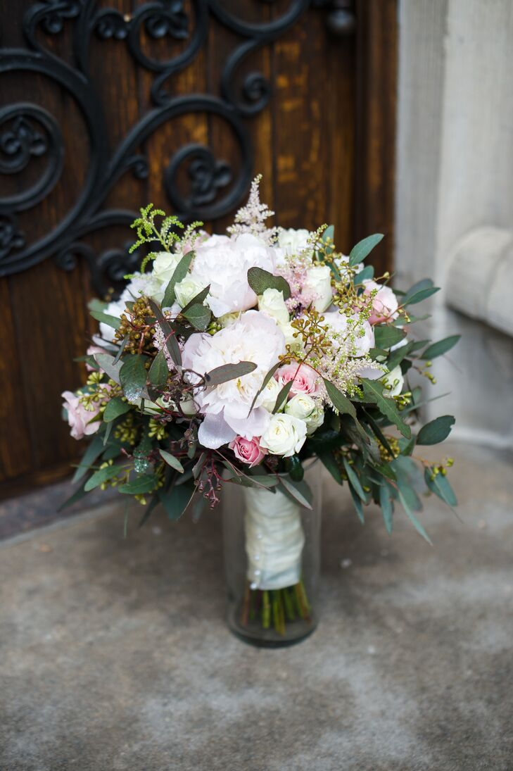 Lush Bouquet of Roses, Astilbe, Seeded Eucalyptus and Peonies