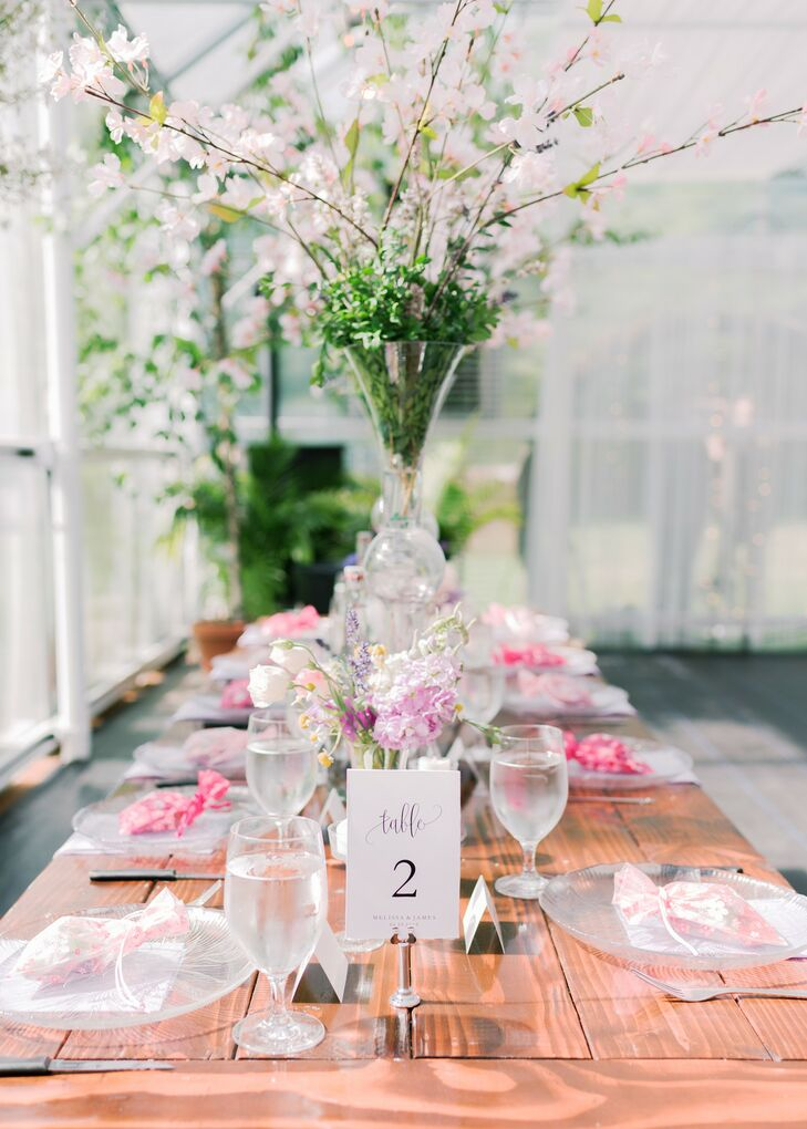 Wood Table, Cherry Blossom Centerpieces Pink Favor Bags at Place Settings