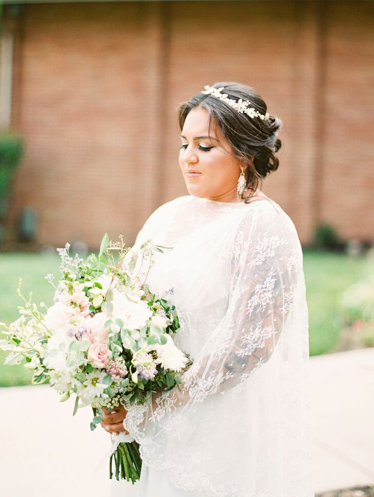 Bride Wearing Cape and Crown for Wedding in Cherry Hill, New Jersey
