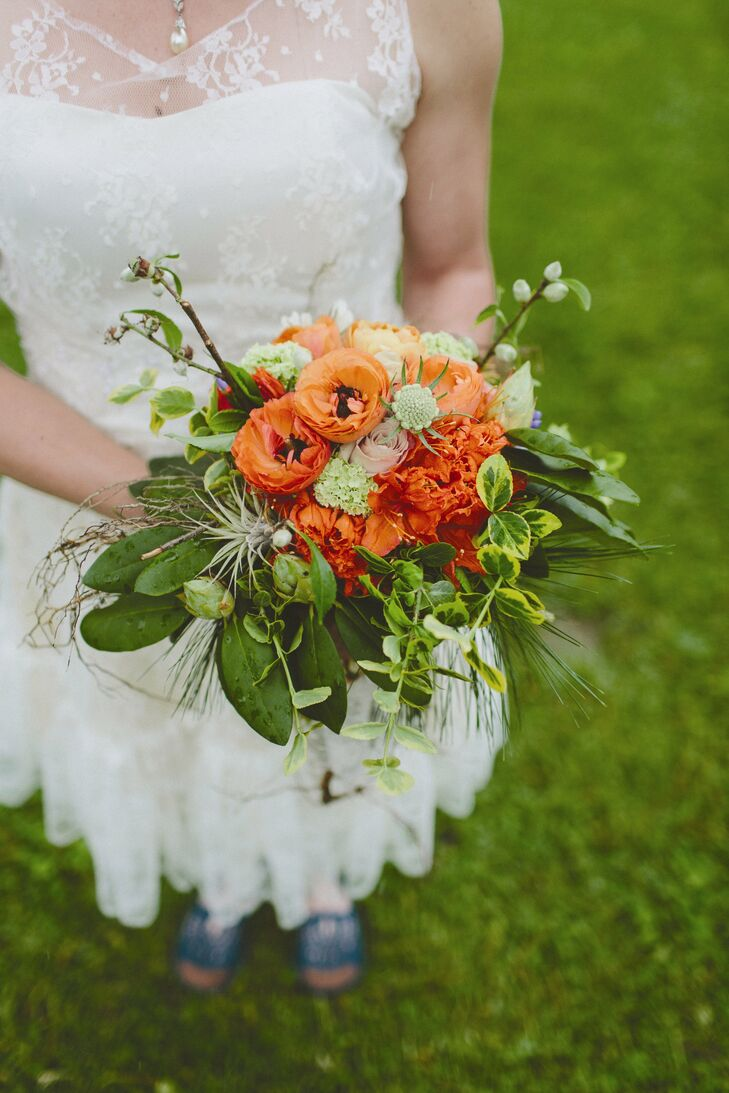 Orange Azalea and Ranunculus Bridal Bouquet