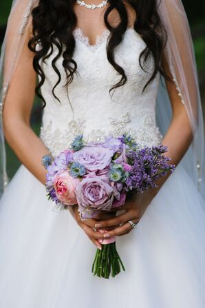 Bridal Bouquet with Roses, Peonies and Lavender