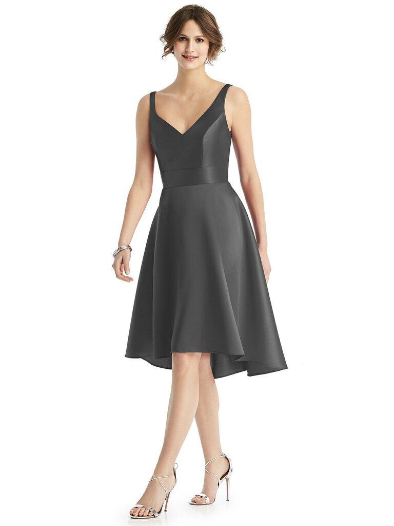 Short dark gray bridesmaid dress