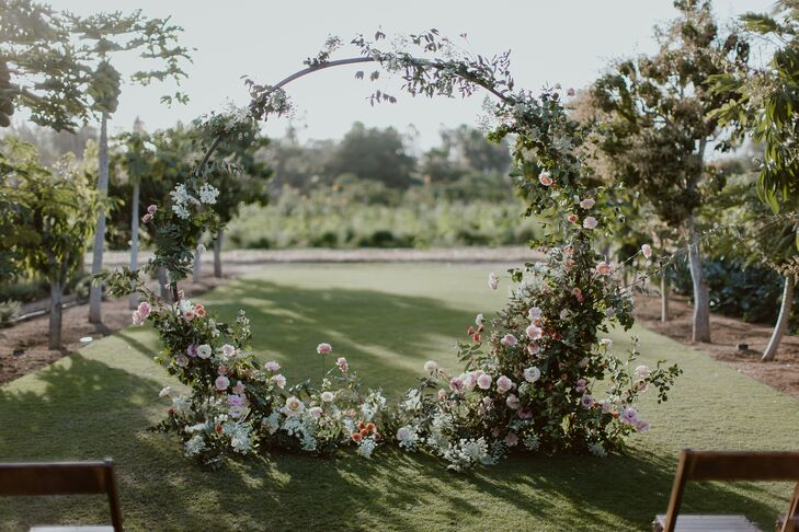 Circular Wedding Arch with Pink Flowers and Greenery