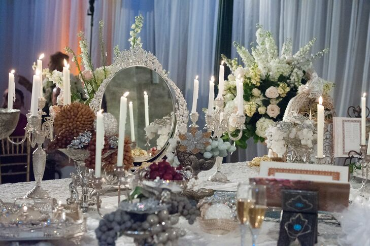 Table with Bejeweled Candelabras and Fruit Accents