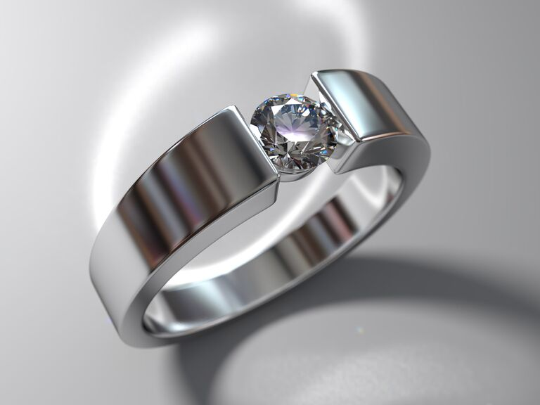 diamond engagement ring with a tension setting