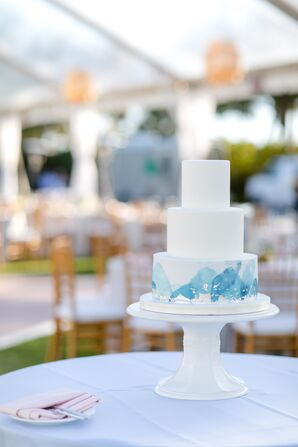 Simple, Tiered Cake with Blue Watercolor Detail