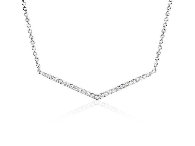 Chevron bar diamond wedding necklace