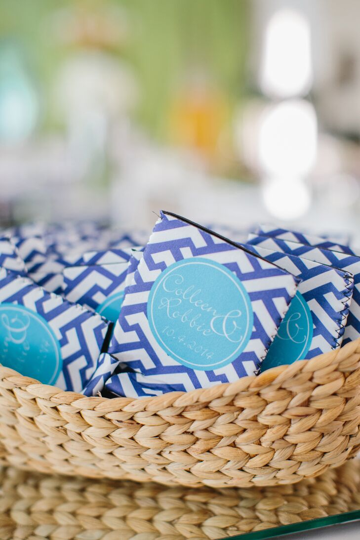 Before the after party at O-Ku, guests were treated to personalized blue koozies and matching match boxes.