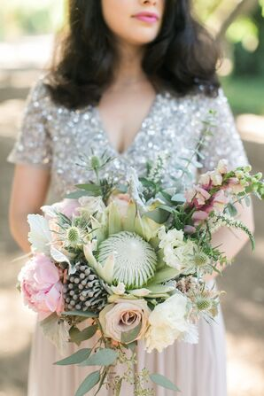 Bohemian Protea, Thistle and Eucalyptus Bouquet