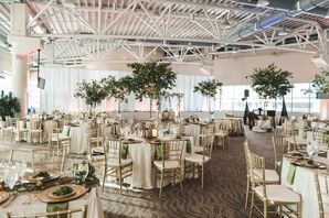 Modern Reception with Greenery Trumpet Arrangements
