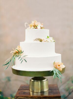 Simple Tiered Cake at Marathon, Texas Wedding