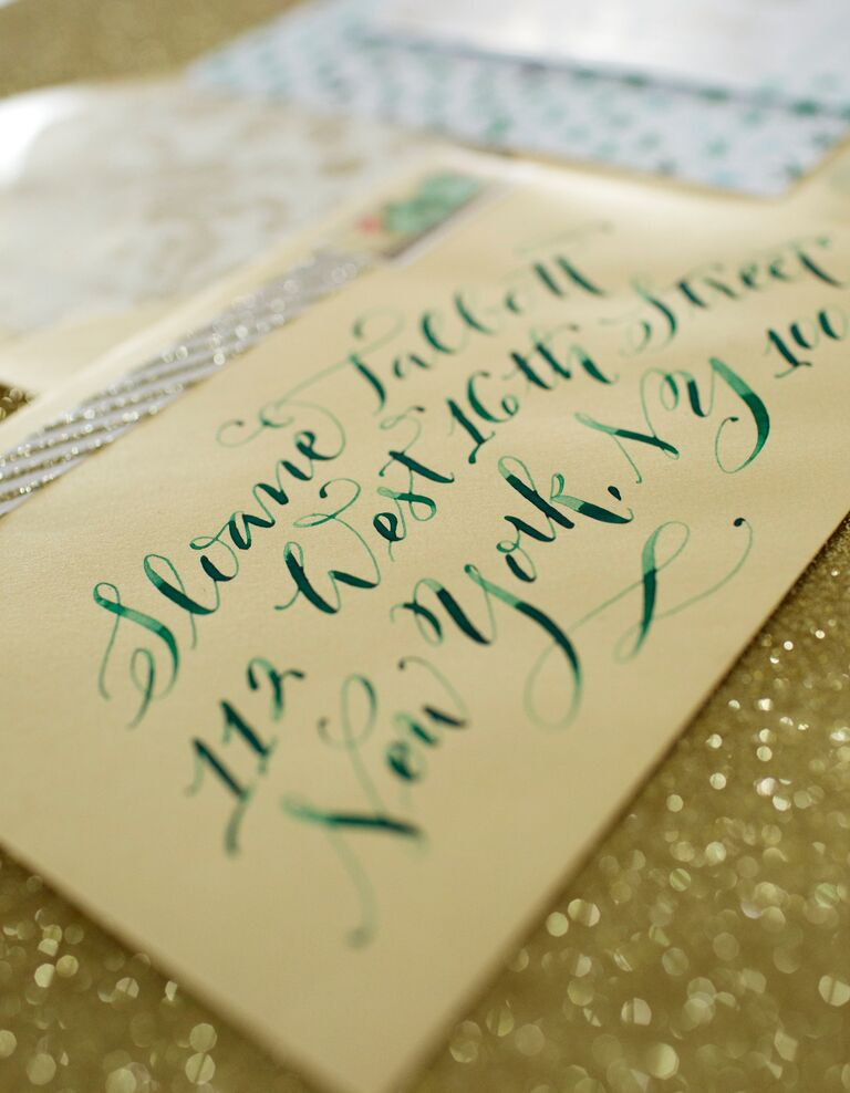 Wedding invitations with ombre green ink