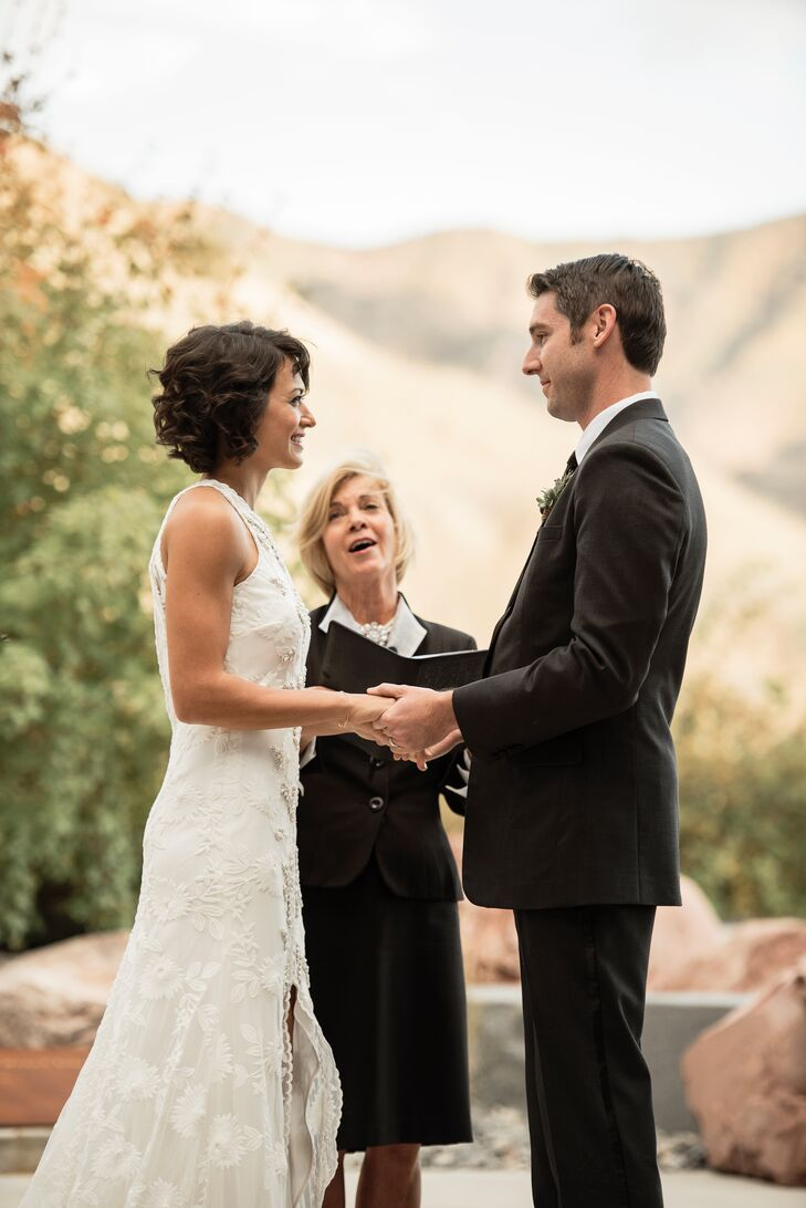 Marie and Chase exchanged vows just outside the Natural History Museum of Utah in Salt Lake City, with the Wasatch Mountains as a backdrop.