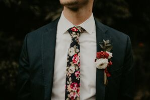 Groom's Floral Print Tie with Matching Boutonniere